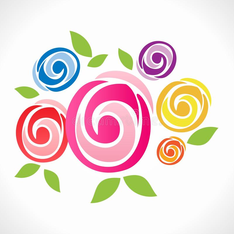 Blommar logoen (symbolen) vektor illustrationer