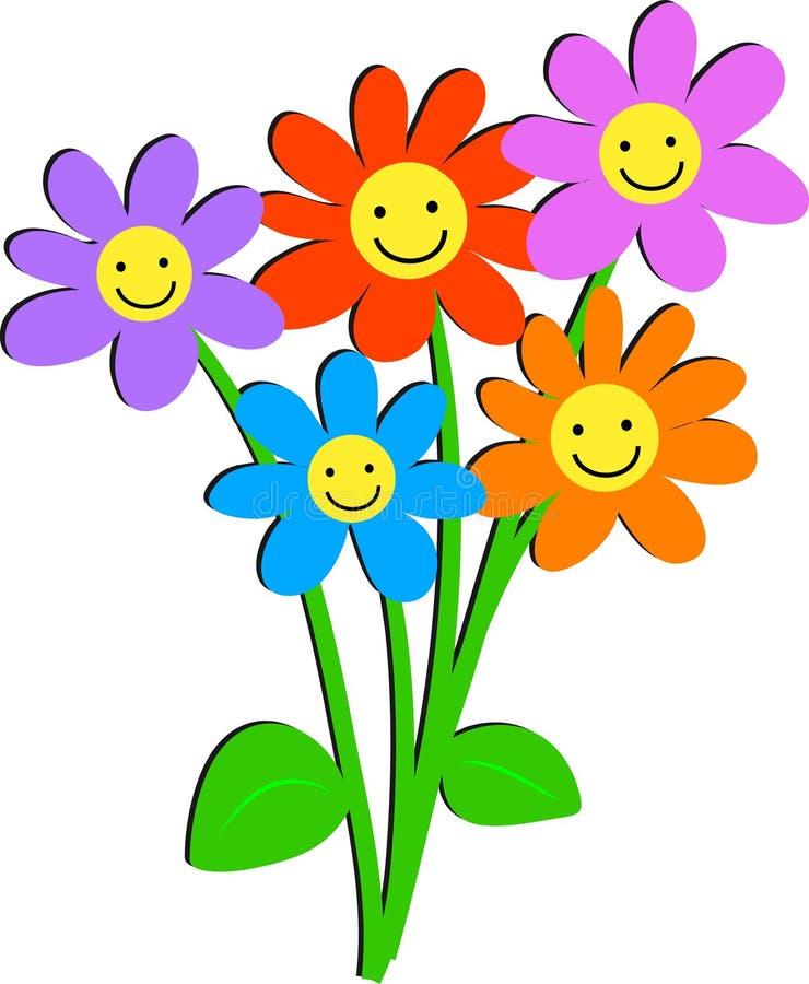 blommar lyckligt stock illustrationer