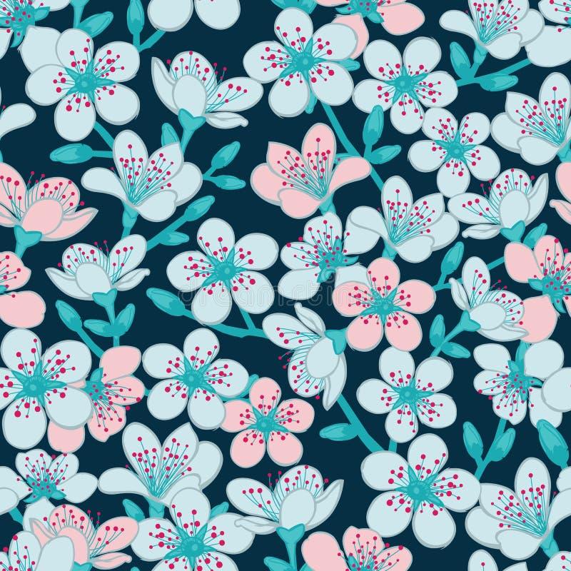 Blommar mörk - blå cyan bakgrund med ljus - blått och den ljusröda körsbärsröda blomningen sakura för vektorn sömlös modellbakgru vektor illustrationer