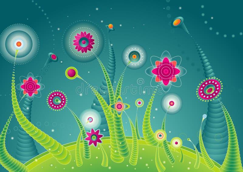 blommar planetvektorn royaltyfri illustrationer