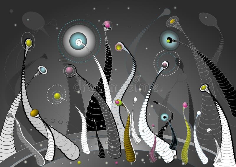 blommar planetvektorn stock illustrationer