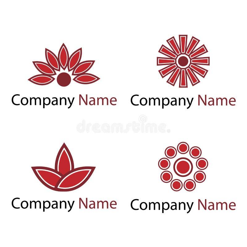 blommar röda logoer stock illustrationer