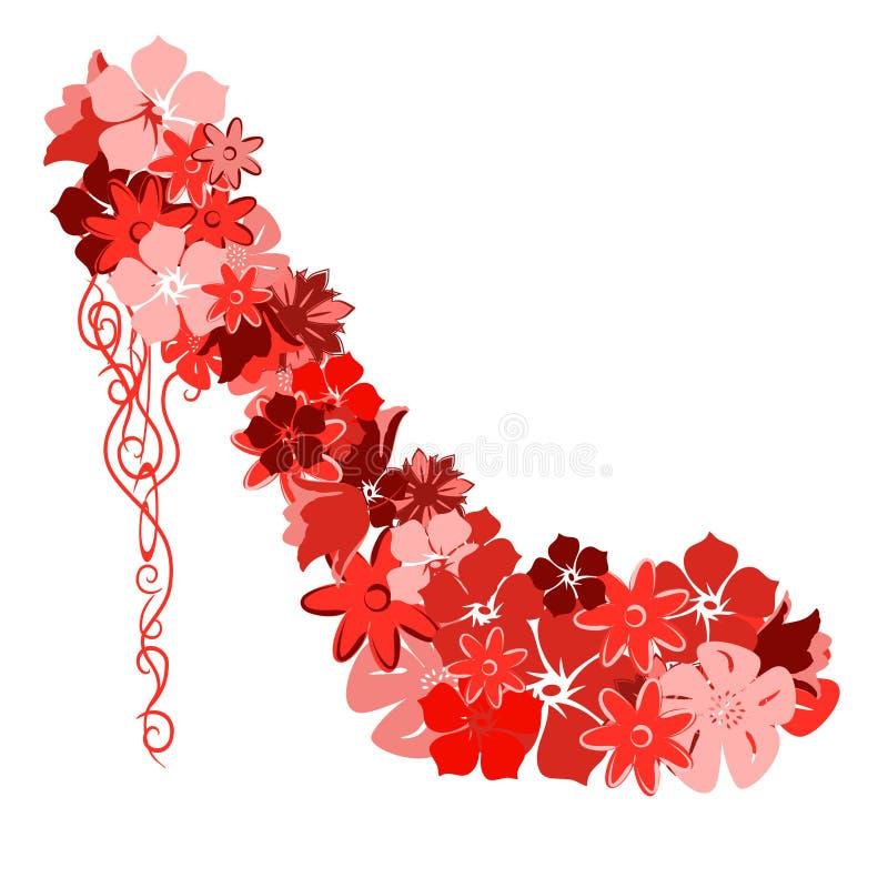 blommar röda skor arkivbilder
