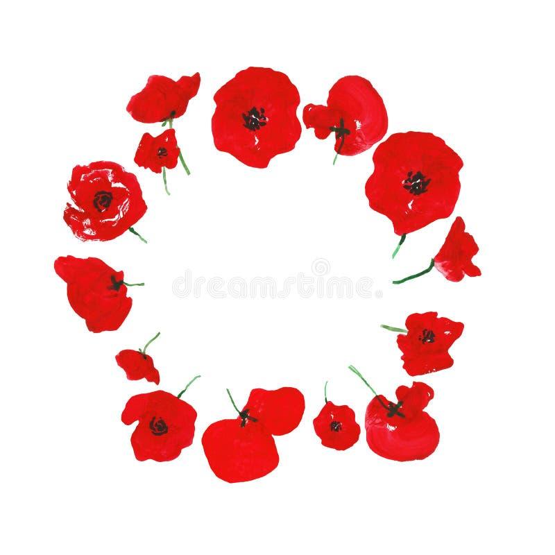 Blommar röda vallmo för vattenfärg kransen som isoleras på vit bakgrund vektor illustrationer