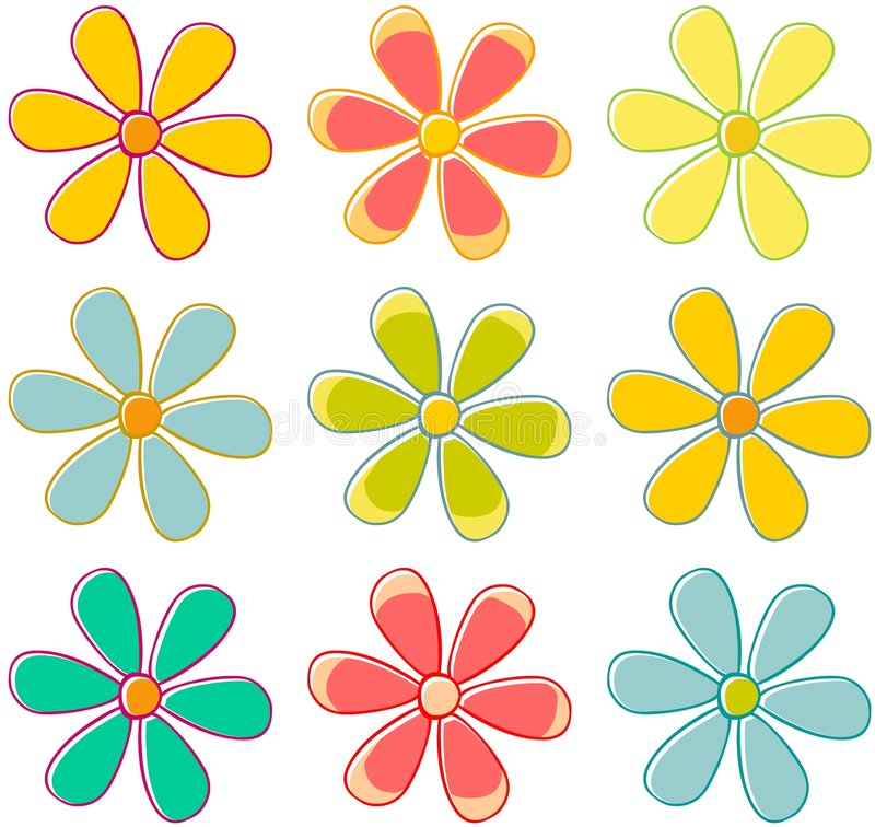 blommar retro vektor illustrationer