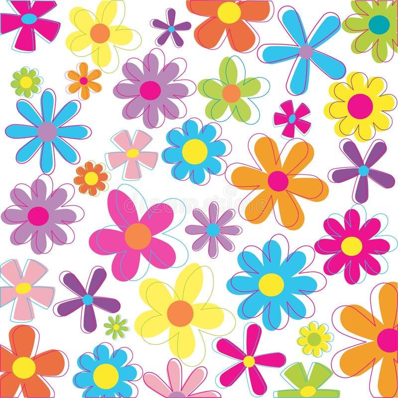 blommar retro stock illustrationer