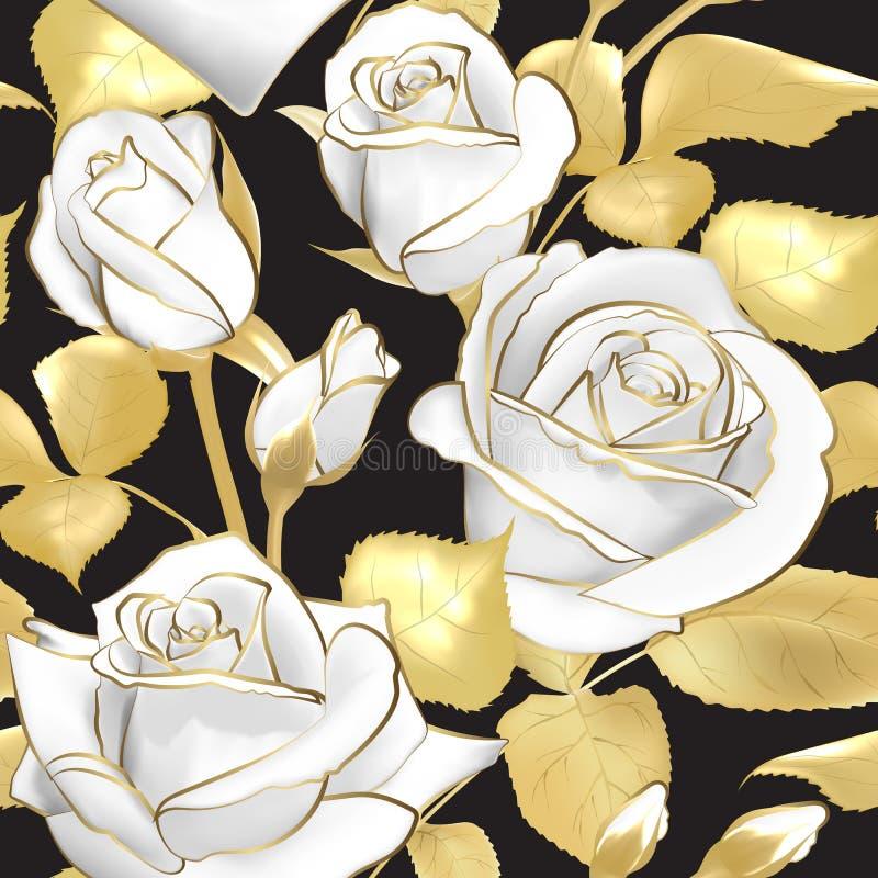 Blommar rosor på en svart bakgrund seamless vektor för modell Blom- design i orientalisk stil Tappning härligt stock illustrationer