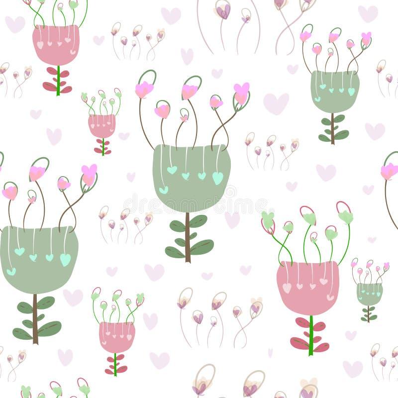 Blommar sömlös bakgrund för gullig blom- hjärta med retro tappning Drog blommor för vektor hand vektor illustrationer