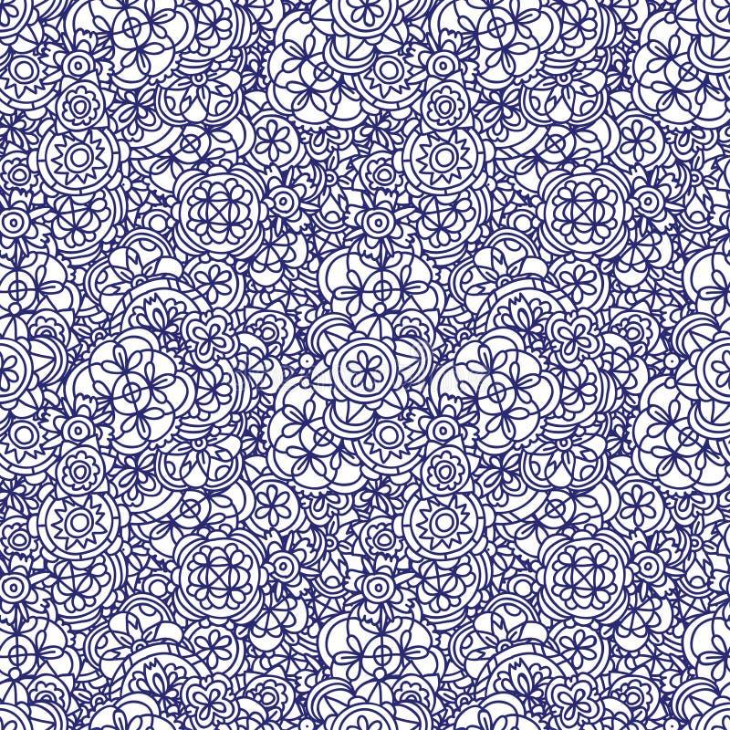 Blommar sömlös blått för färgpulverklottret på papper Abstrakt ändlös modell vektor illustrationer