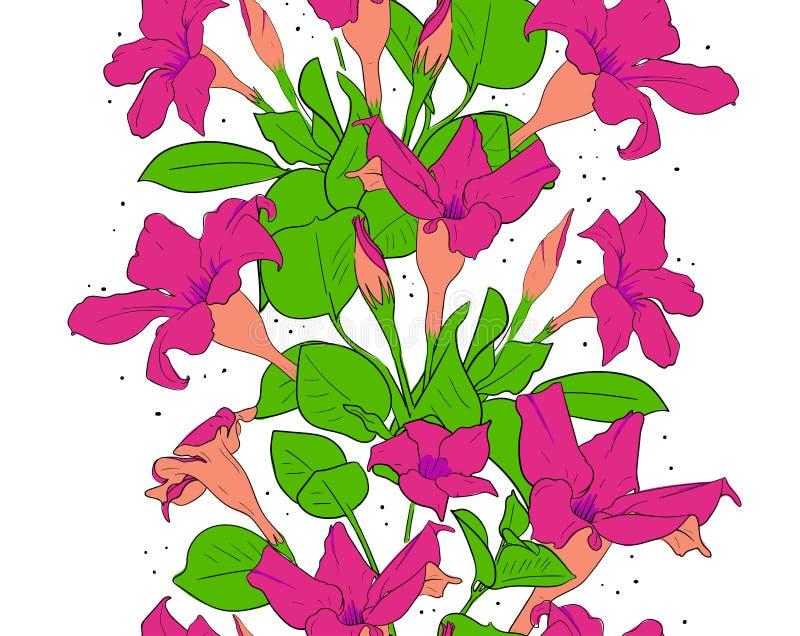 Blommar seamless m?nstrar bakgrund g?ra en birdie treen f?r fj?dern f?r bloosompar den fantastiska blom- Vara kan bruk som bakgru stock illustrationer