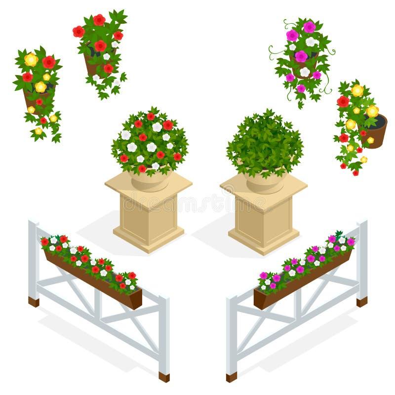 blommar symbolen Designbeståndsdelar för kafét Den isometriska vektorn blommar beståndsdelar för landskapdesign bakgrundsbanret b vektor illustrationer
