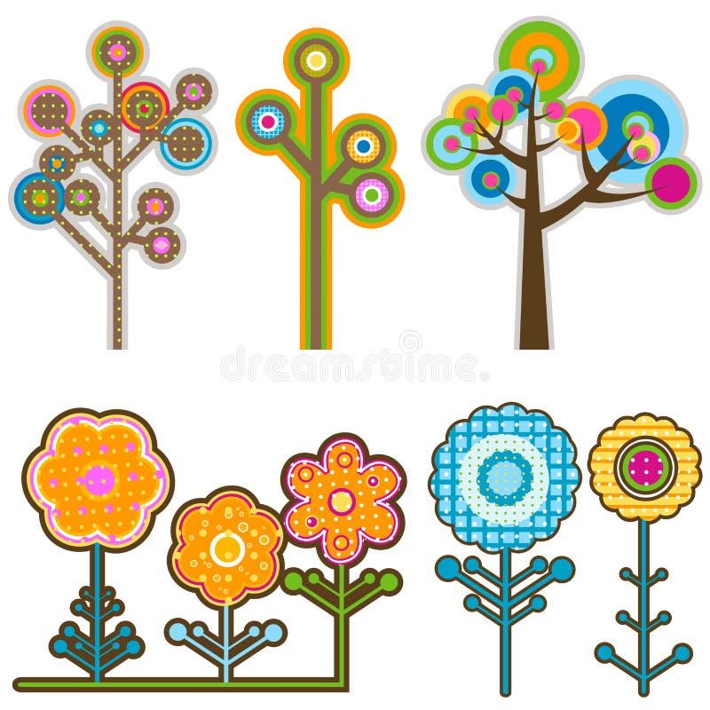 blommar trees stock illustrationer