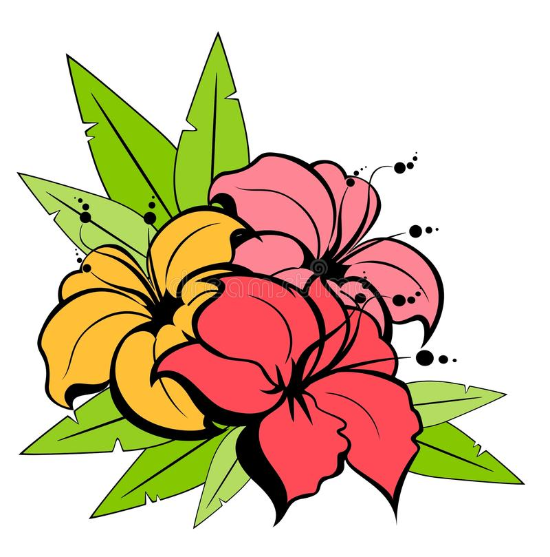 blommar tropiskt royaltyfri illustrationer