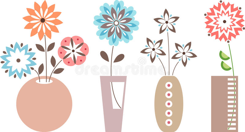 blommar vases royaltyfri illustrationer