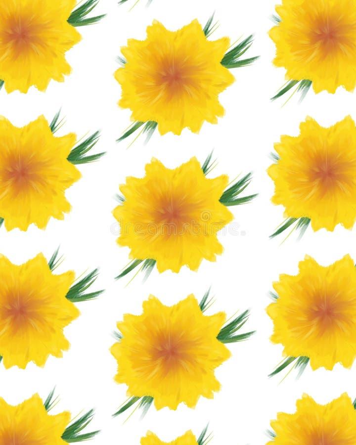 blommar vattenfärgyellow stock illustrationer