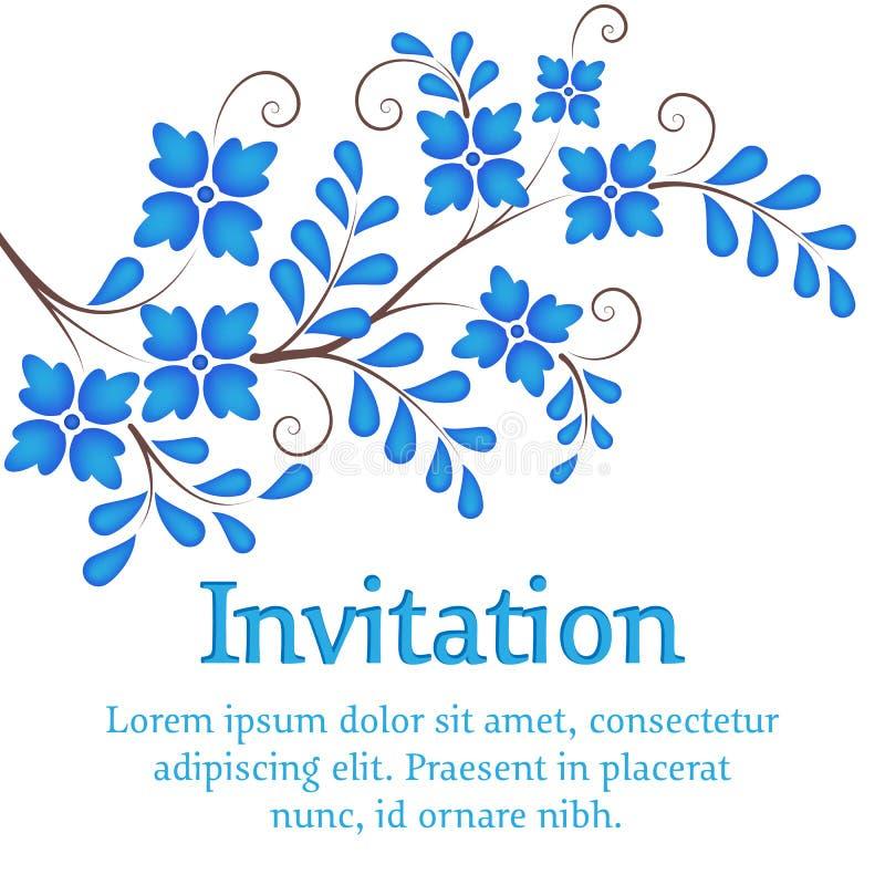 blommar vektorn Inbjudan- eller bröllopkort med royaltyfri illustrationer
