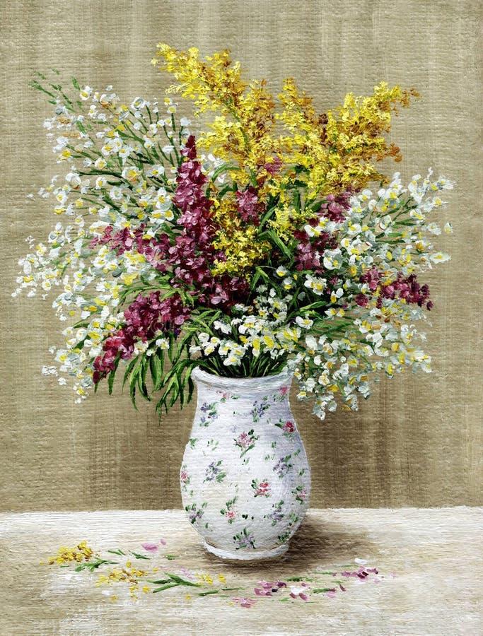 blommar vitt wild för vase royaltyfri fotografi
