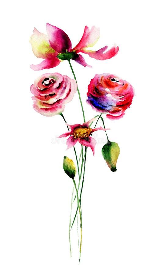 blommar wild royaltyfri illustrationer