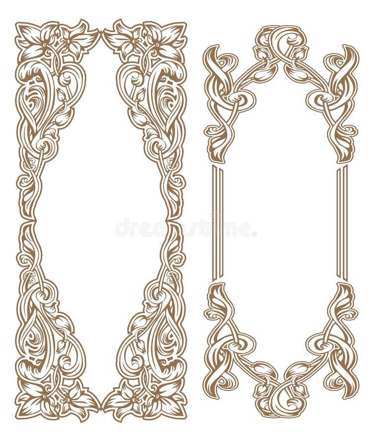 Blommaram Art Nouveau royaltyfri illustrationer