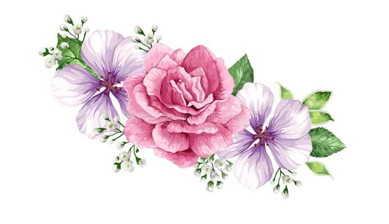 Blommaram i vattenfärgstil som isoleras på vit bakgrund royaltyfri illustrationer