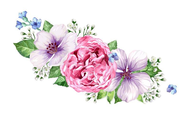 Blommaram i vattenfärgstil som isoleras på vit bakgrund stock illustrationer