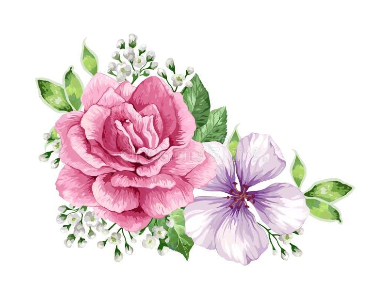 Blommaram i vattenfärgstil som isoleras på vit bakgrund vektor illustrationer