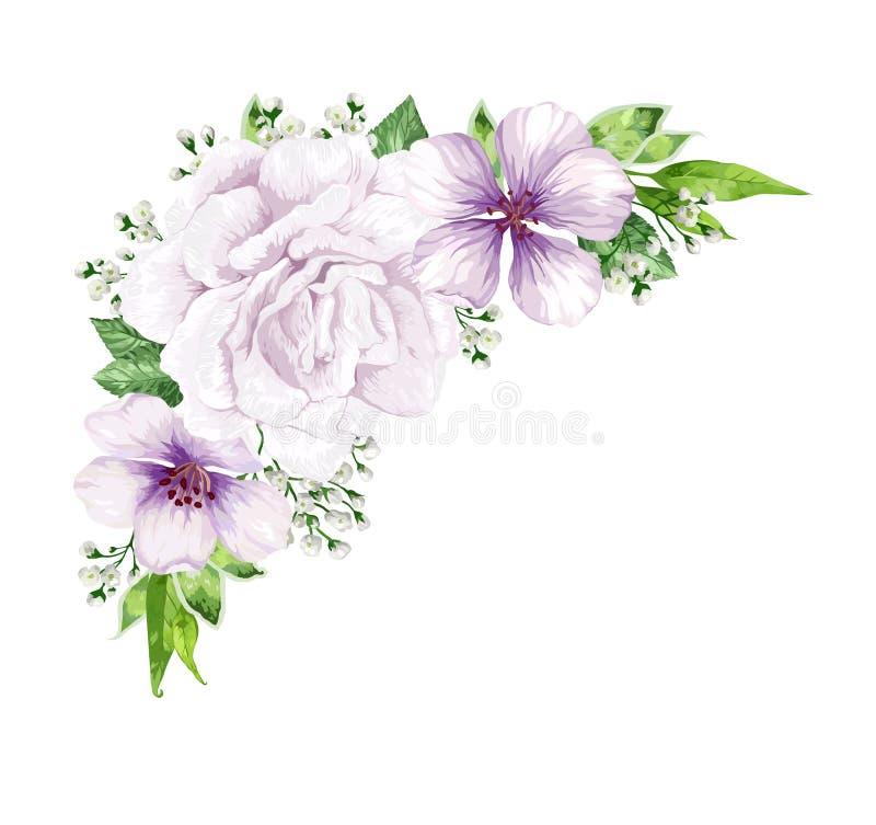 Blommaram i vattenfärgstil som isoleras på vit bakgrund card inbjudanmallen Fyrkantig sammansättning ställe stock illustrationer