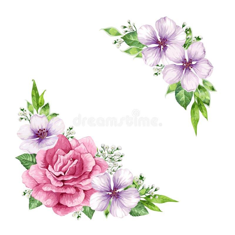 Blommaram i vattenfärgstil som isoleras på vit bakgrund card inbjudanmallen Fyrkantig sammansättning ställe royaltyfri illustrationer