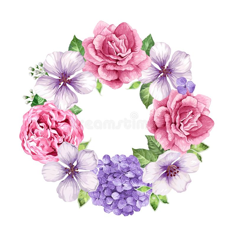 Blommaram i vattenfärgstil som isoleras på vit bakgrund card inbjudanmallen placera text royaltyfri illustrationer
