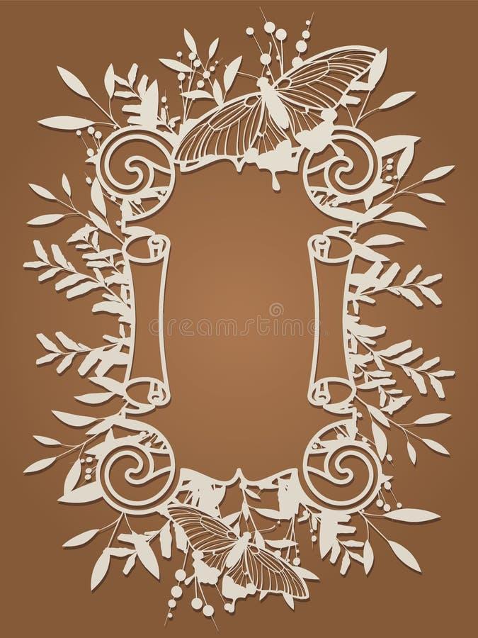 Blommaramcartouche för laser-klipp Tappningbladgräns, antik stilvirvelvind, dekorativ beståndsdeldesign för att gifta sig och royaltyfri illustrationer