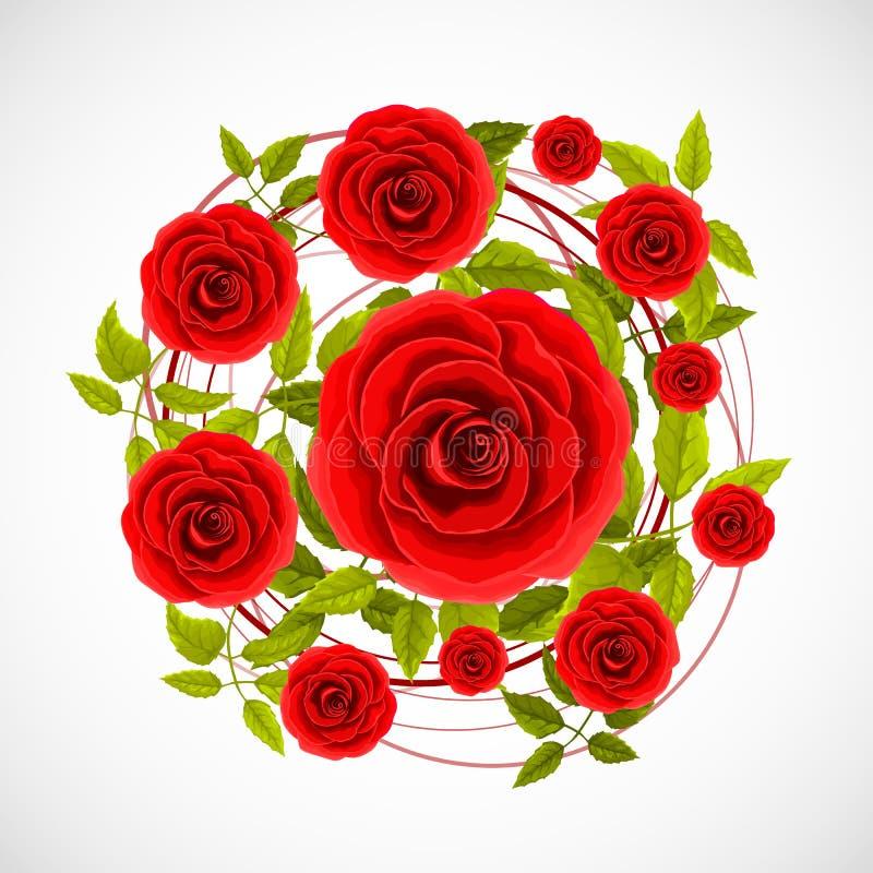 Blommarosetikett royaltyfri illustrationer