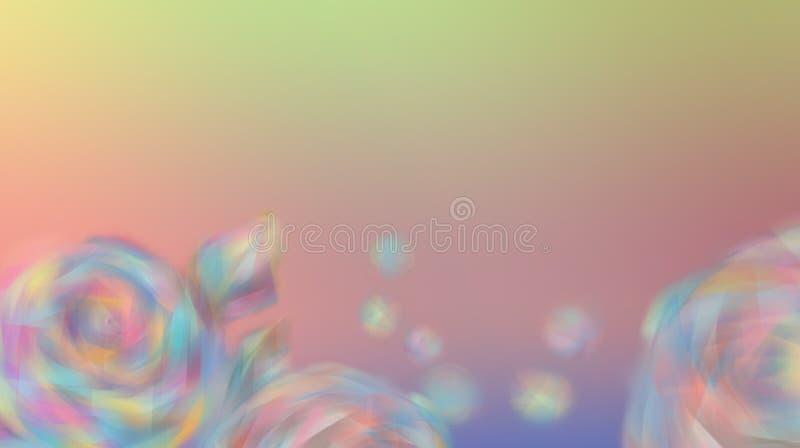 Blommarosor på en oskarp härlig bakgrund av färg av regnbågen Suddiga rosor stock illustrationer