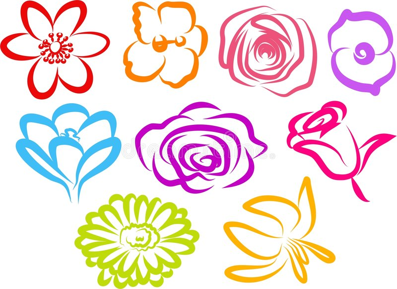 blommasymboler stock illustrationer