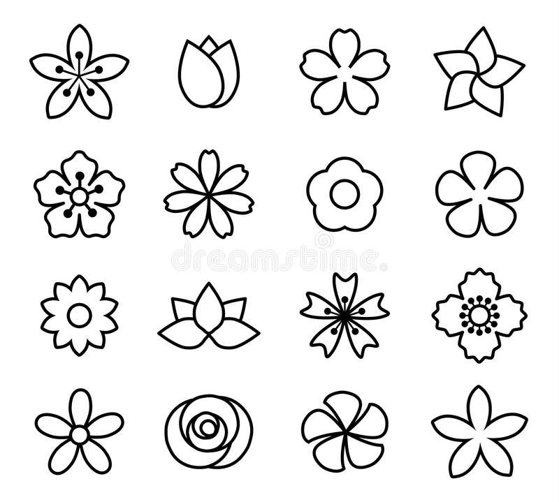 Blommasymboler set1 vektor illustrationer