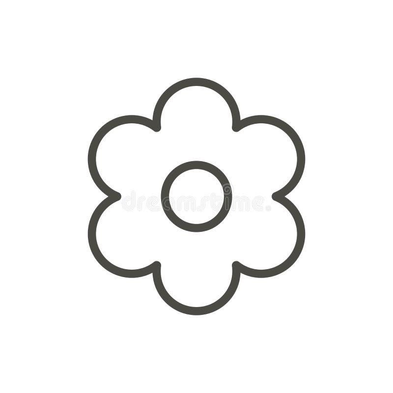 Blommasymbolsvektor Blom- översikt, linje vårsymbol vektor illustrationer