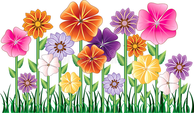 blommaträdgård royaltyfri illustrationer