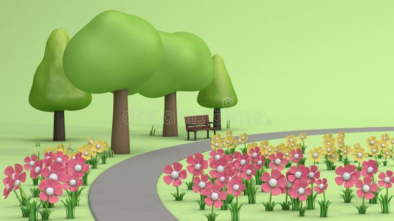 Blommaträdgården och gångbanan, träd i grönt parkerar, tecknad filmstil låg poly 3d för att framföra royaltyfri illustrationer