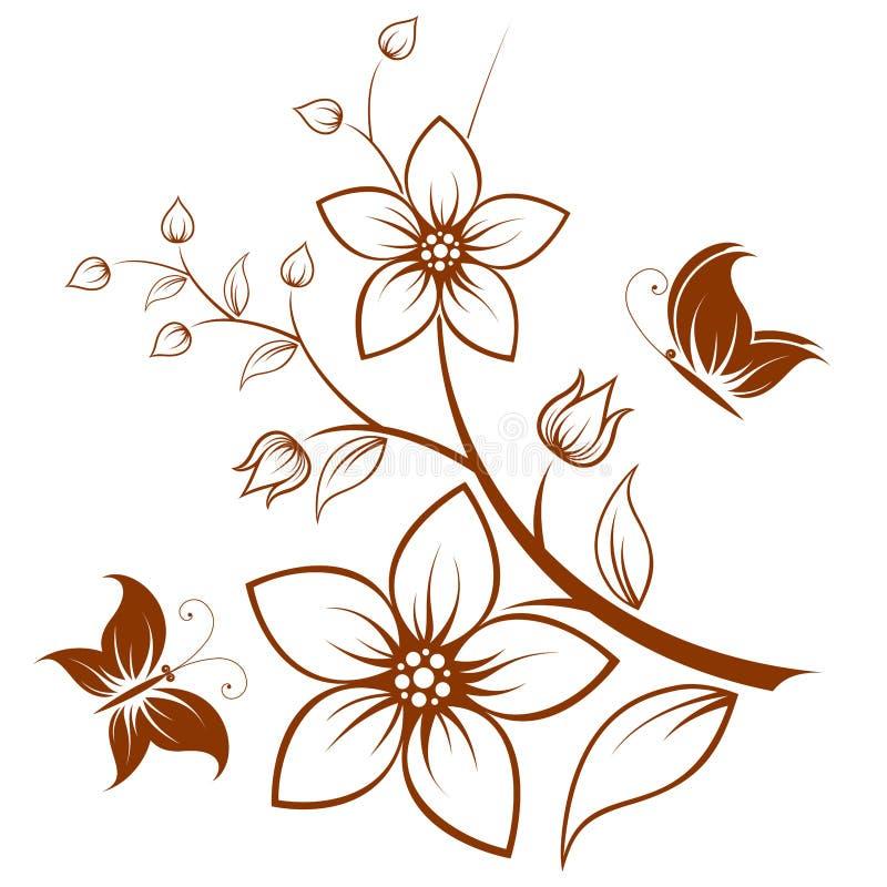 blommatree royaltyfri illustrationer