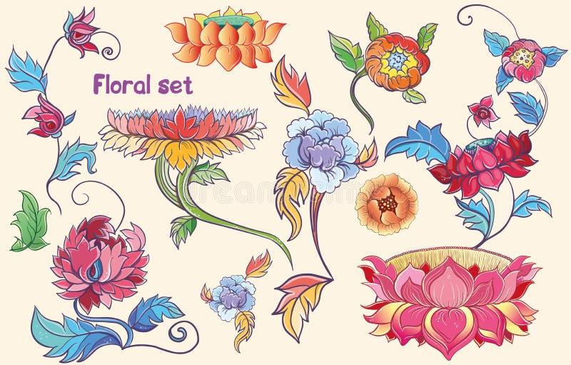 Blommauppsättning med lotusblommor och pioner asiatiskt tema vektor illustrationer