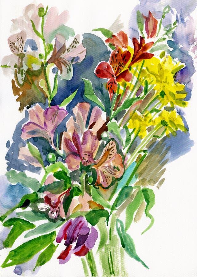 blommavattenfärg vektor illustrationer