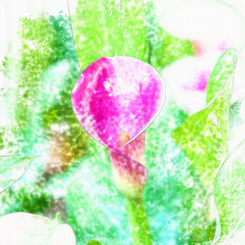 Blommavattenfärg royaltyfri illustrationer