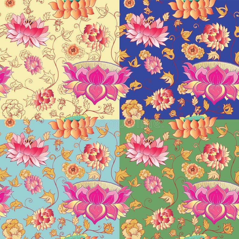 Blommavektormodell med lotusblommor stock illustrationer