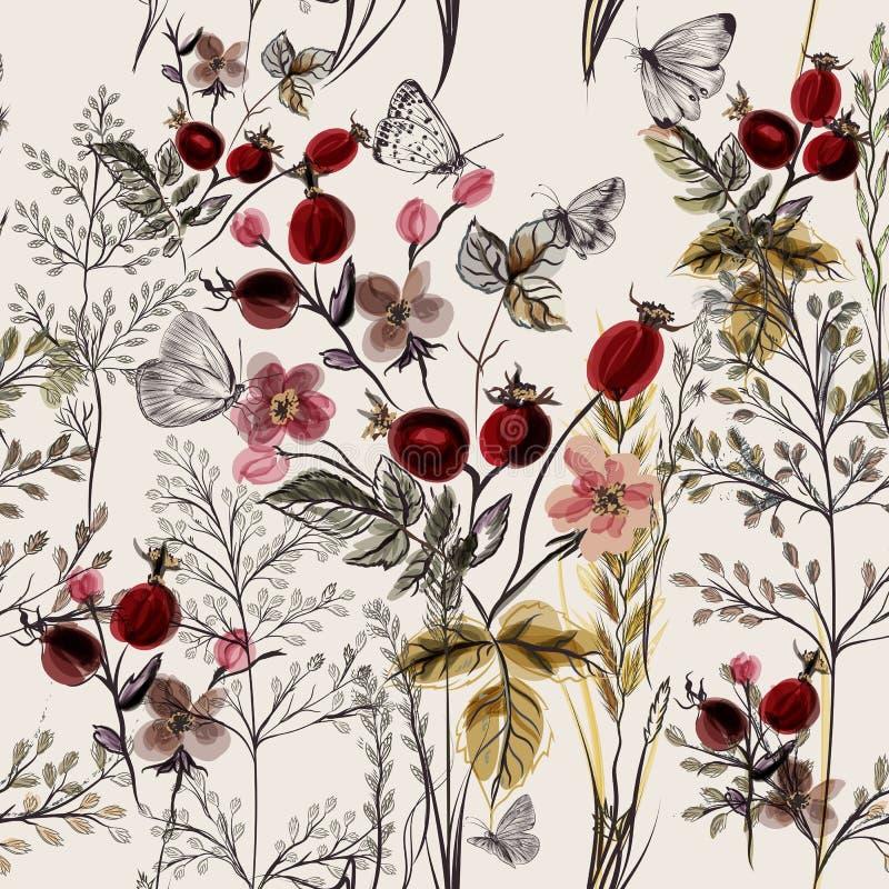 Blommavektormodell med växter stock illustrationer