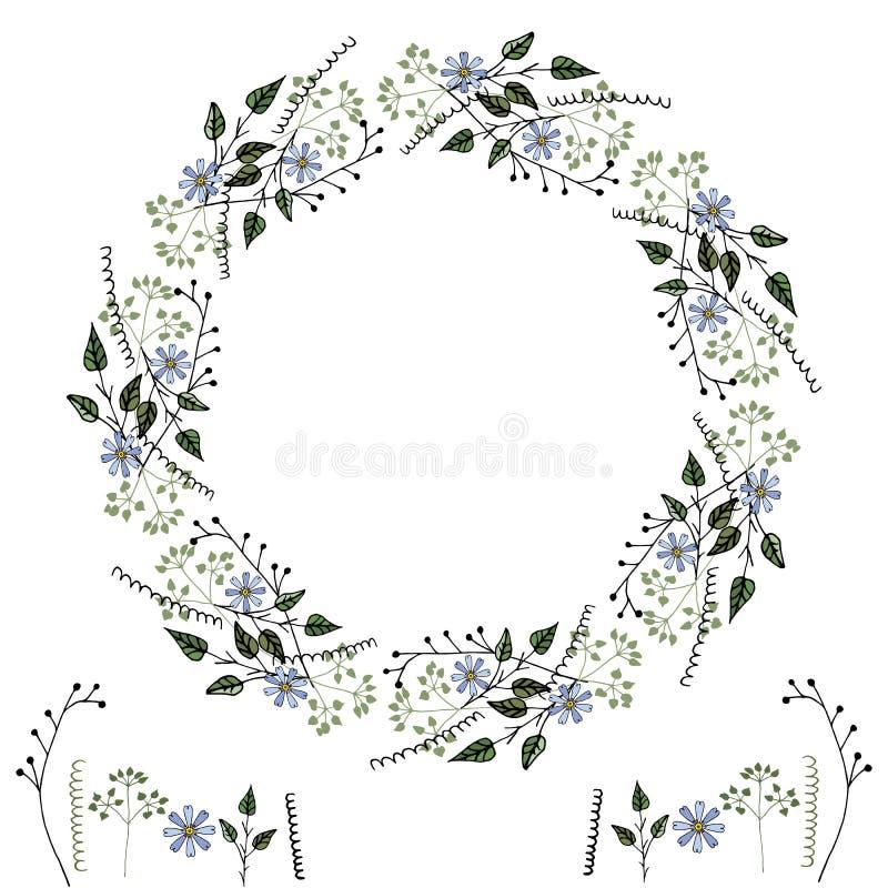 Blommavektorram av enkla delikata botaniska best?ndsdelar, blommor och geometriska former, f?r att skapa intressera designer, royaltyfri illustrationer