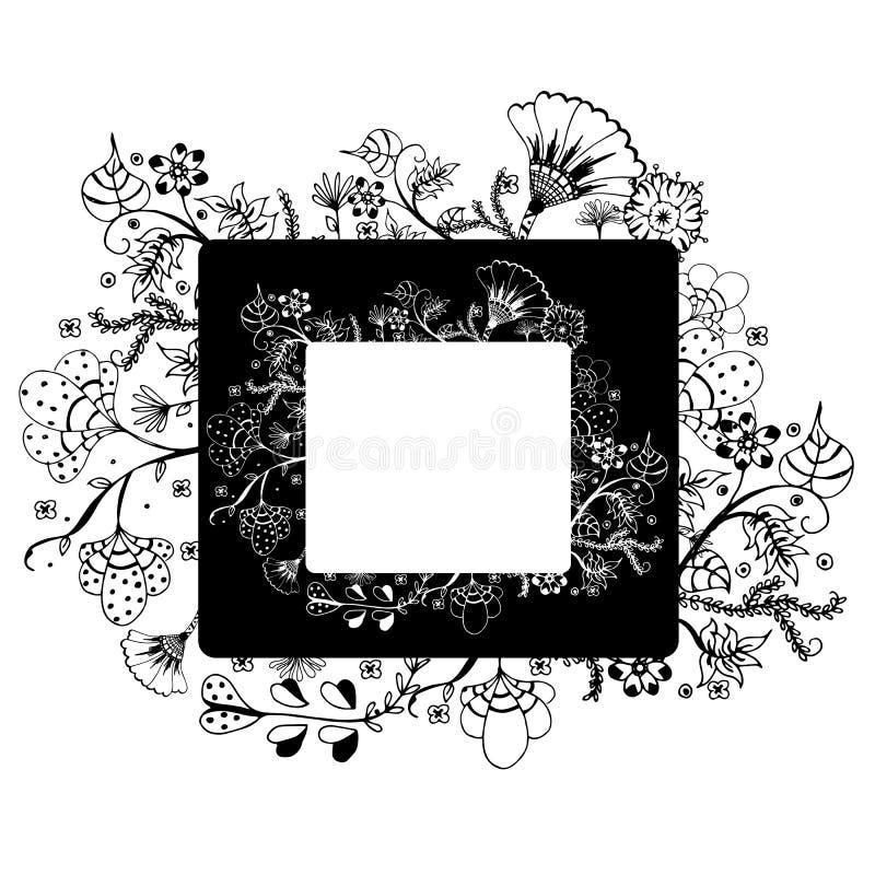 Blommavektorramen på fria händerteckning skissar på vit bakgrund royaltyfri illustrationer