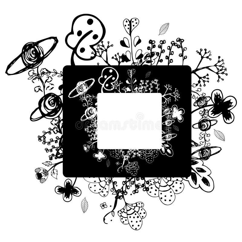 Blommavektorramen på fria händerteckning skissar på vit bakgrund vektor illustrationer