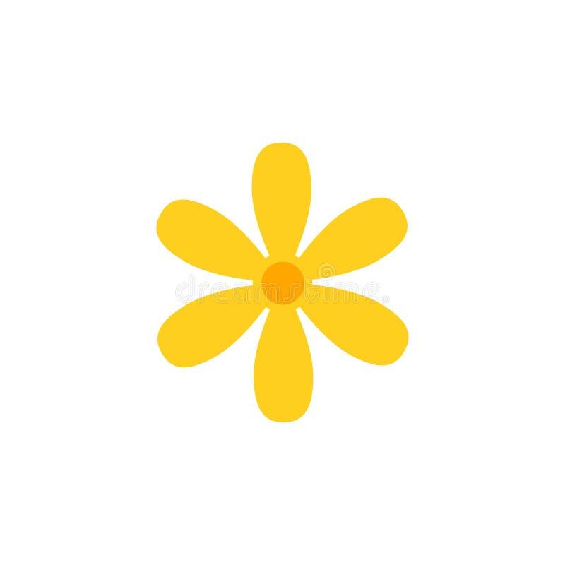 Blommavektorsymbolen isolerade Enkel blomma för trädgård i tecknad filmstil royaltyfri illustrationer