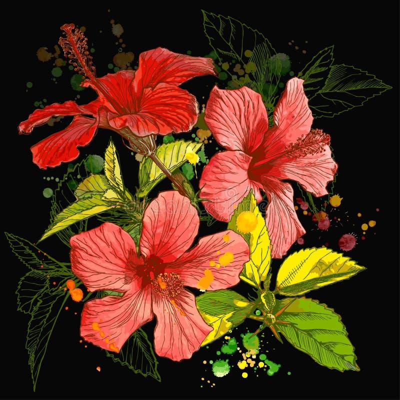 blommavektorvattenfärg vektor illustrationer