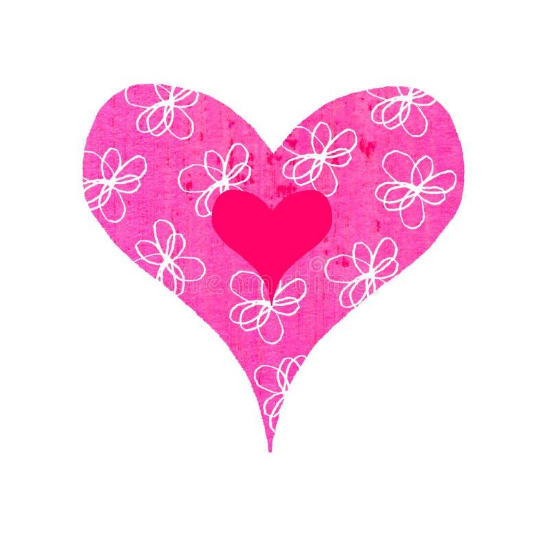 blommig groovy hjärta vektor illustrationer