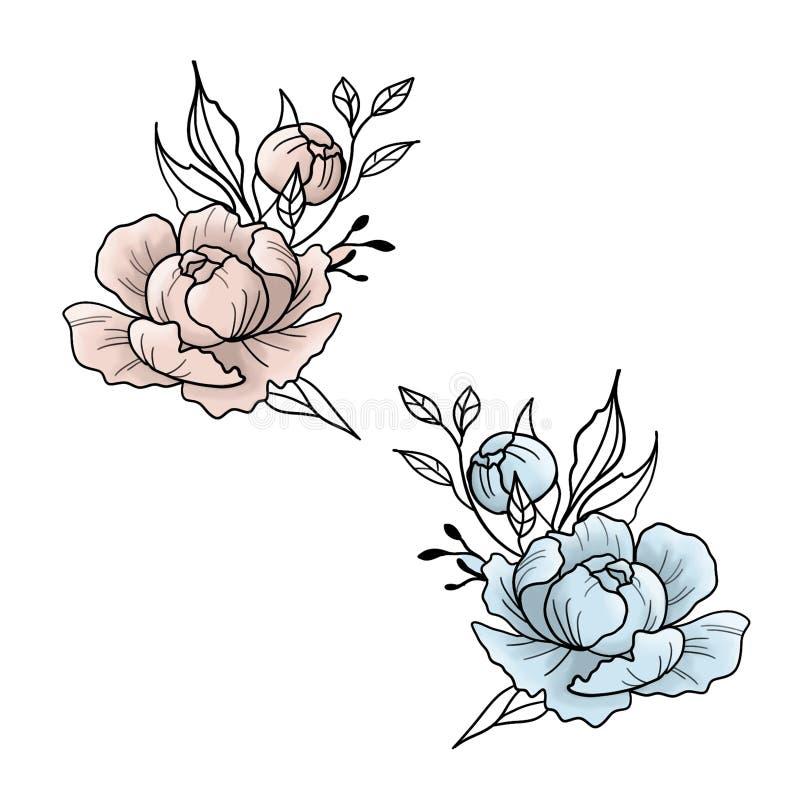 Blommig och för virvlar metallisk sömlös modell på neutral bakgrund royaltyfri illustrationer